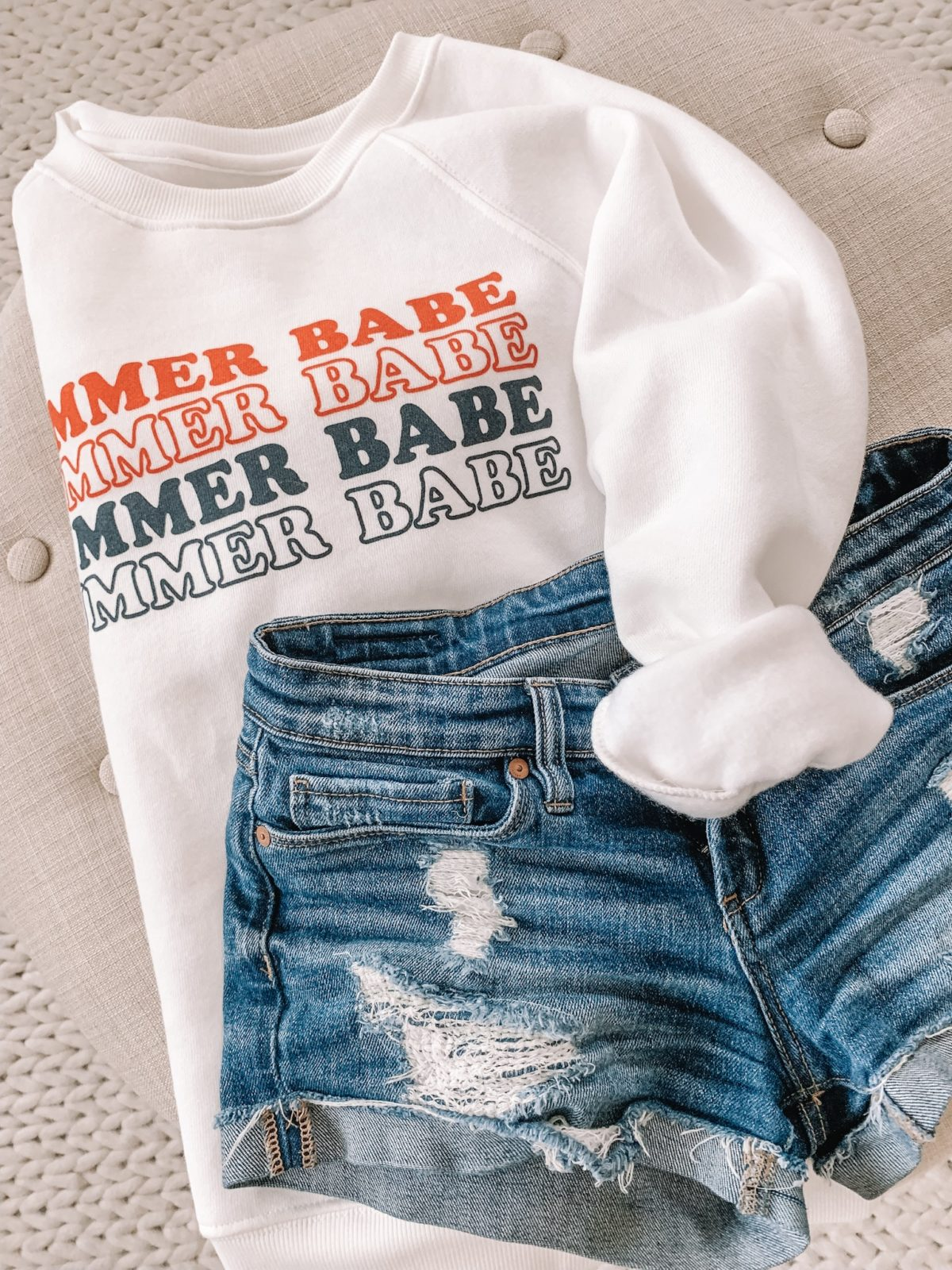 Summer Babe Sweatshirt and Jean Shorts