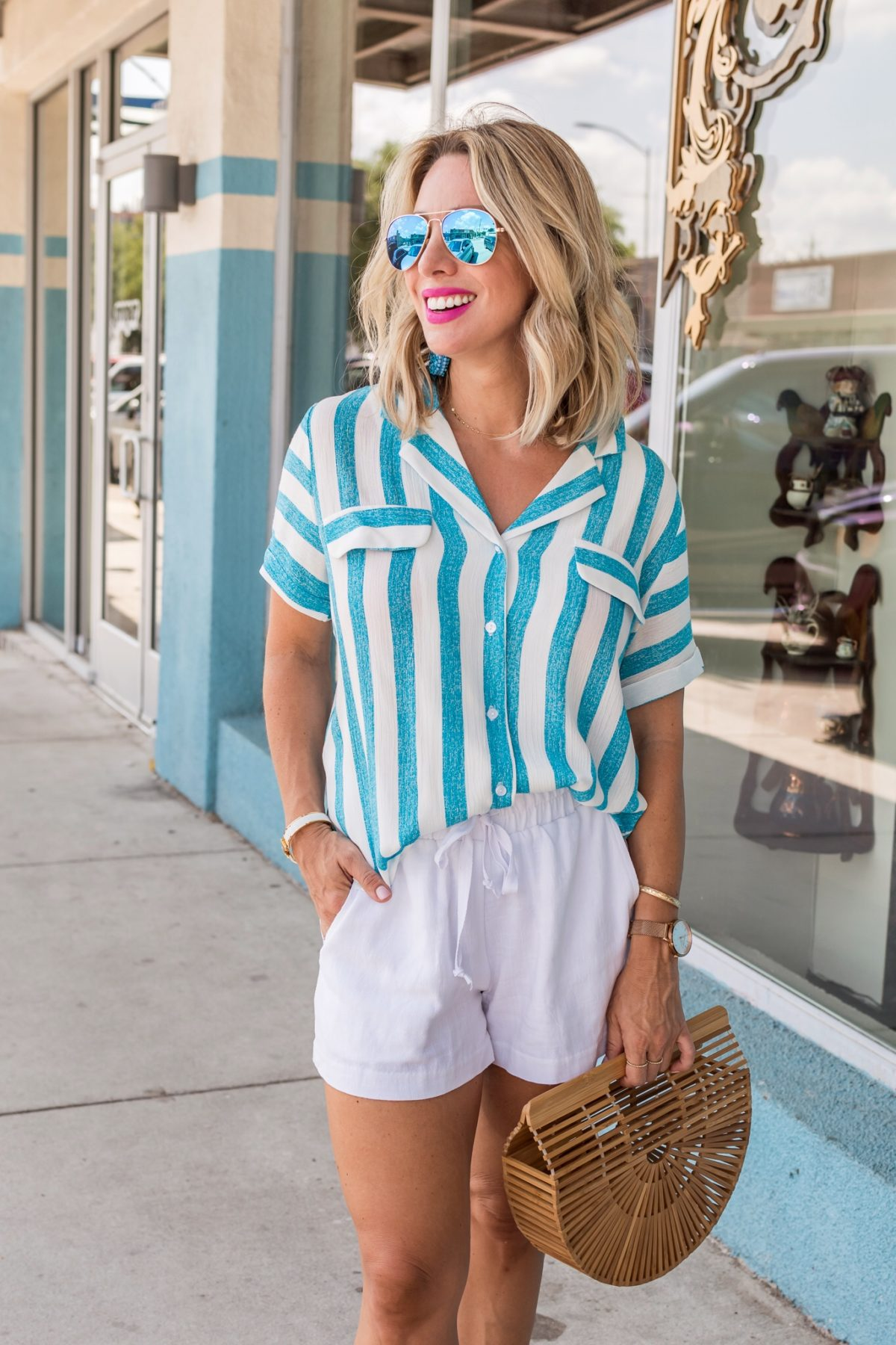 HYDRA LINEN SHORTS & IBIZA ONE SHOULDER RUFFLE TOP
