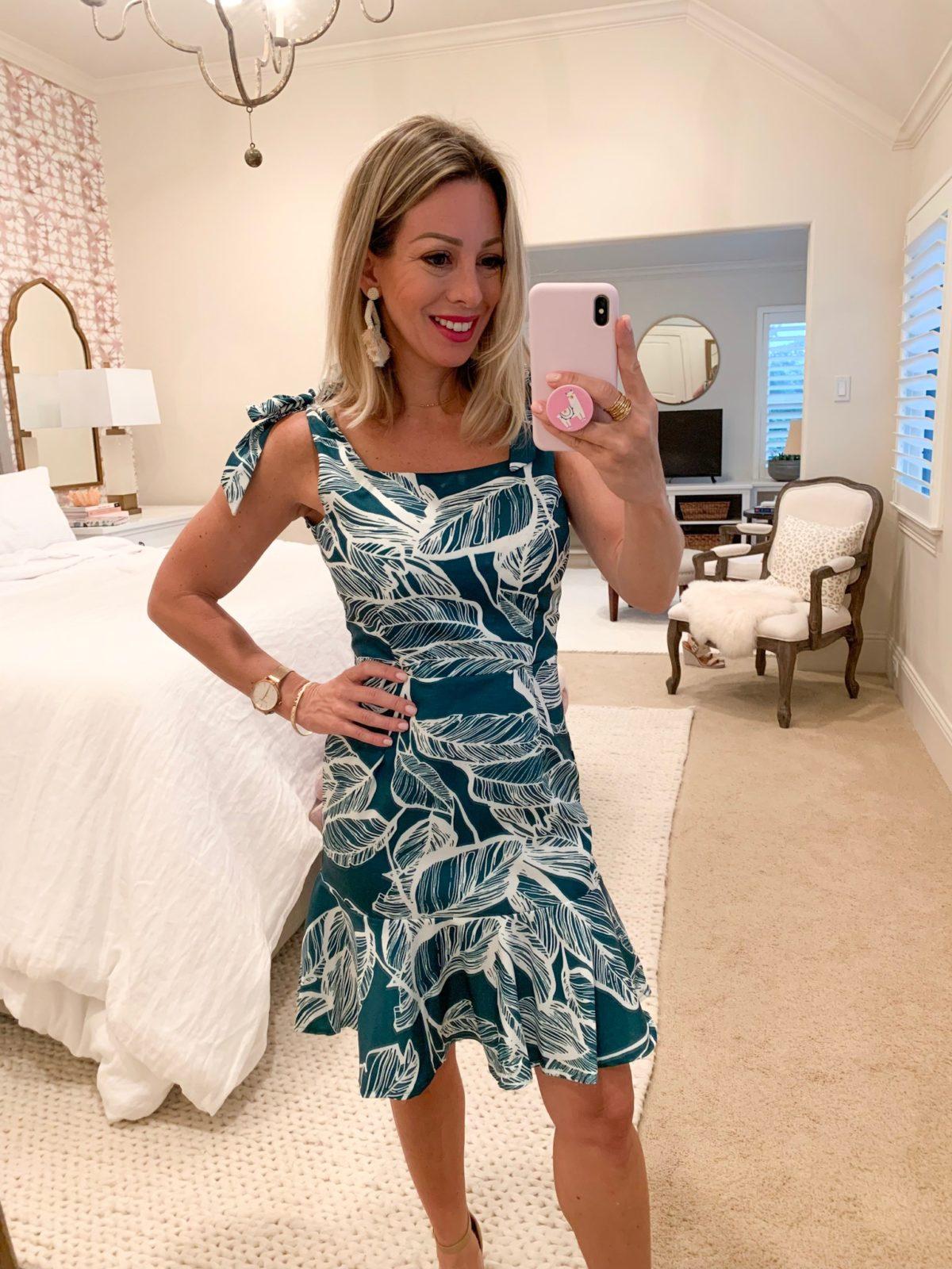 Amazon Fashion Haul Green Palm Dress