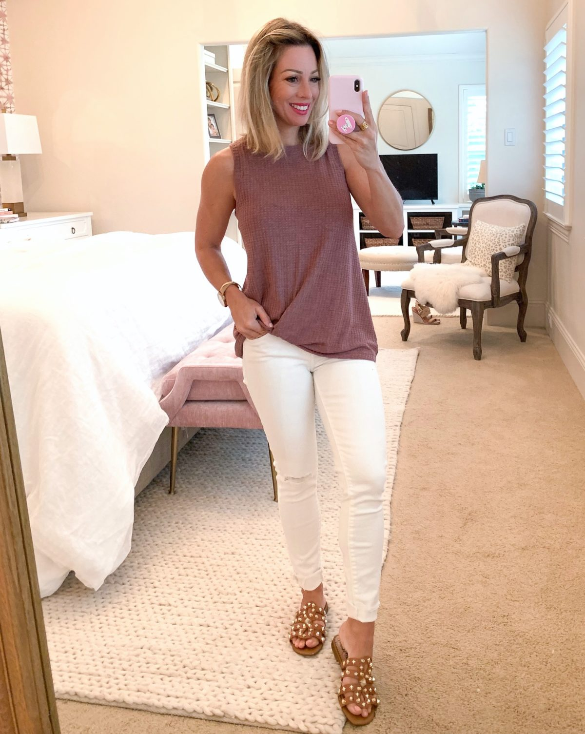 Amazon Fashion Haul Woven Pink Tank and White Jeans