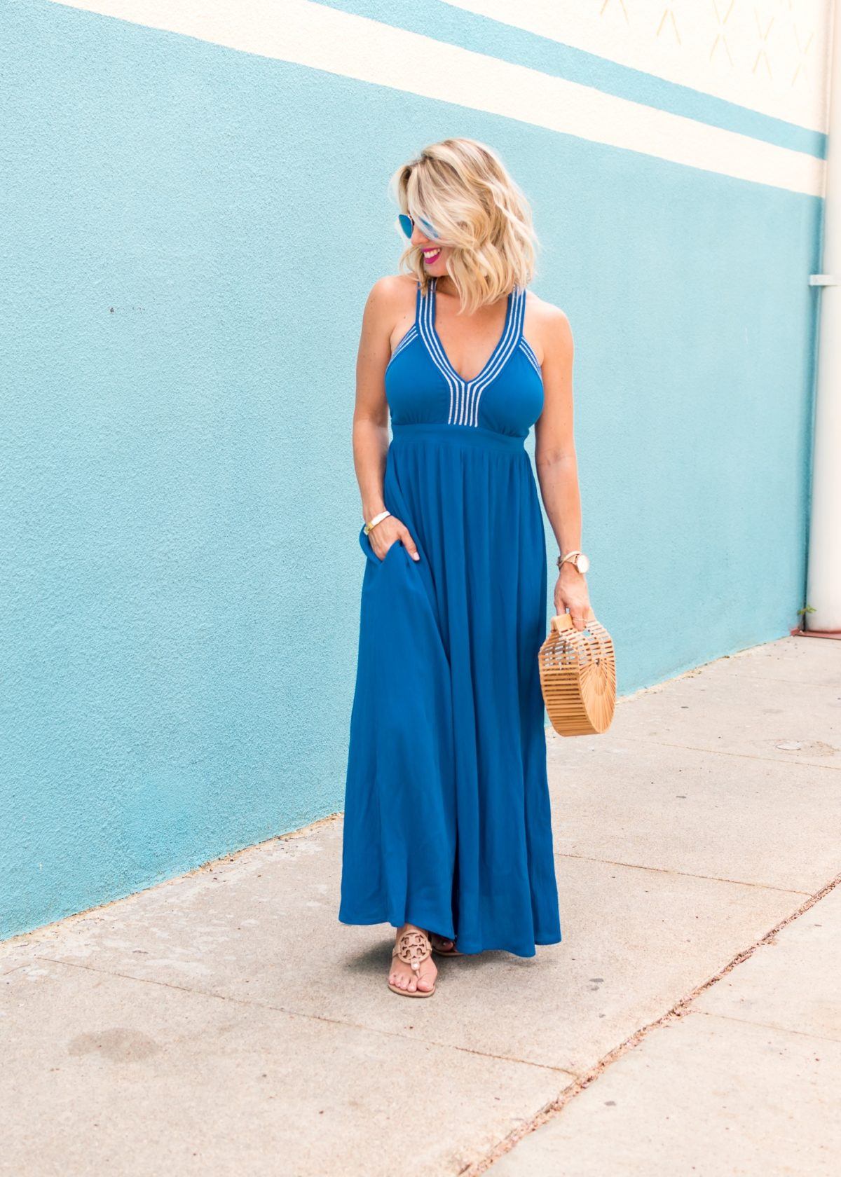 SANTORINI ADJUSTABLE STRIPE MAXI DRESS