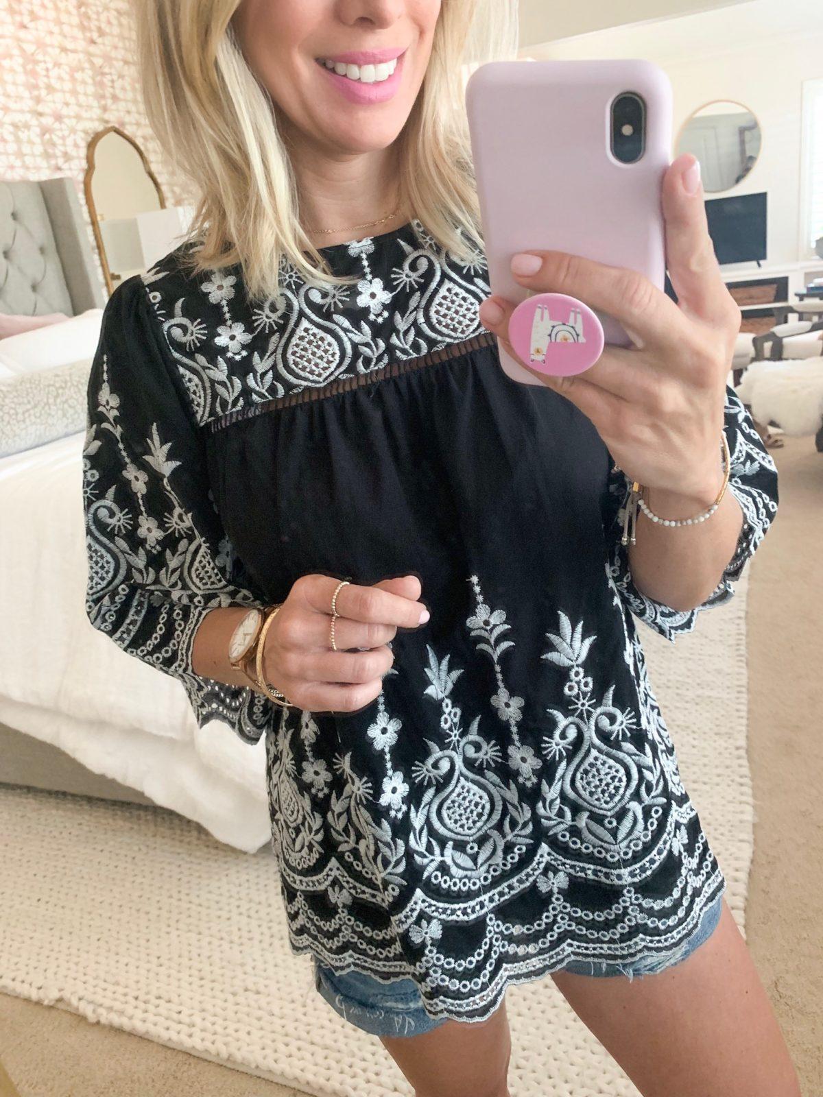 Amazon Fashion haul - black embroidered top