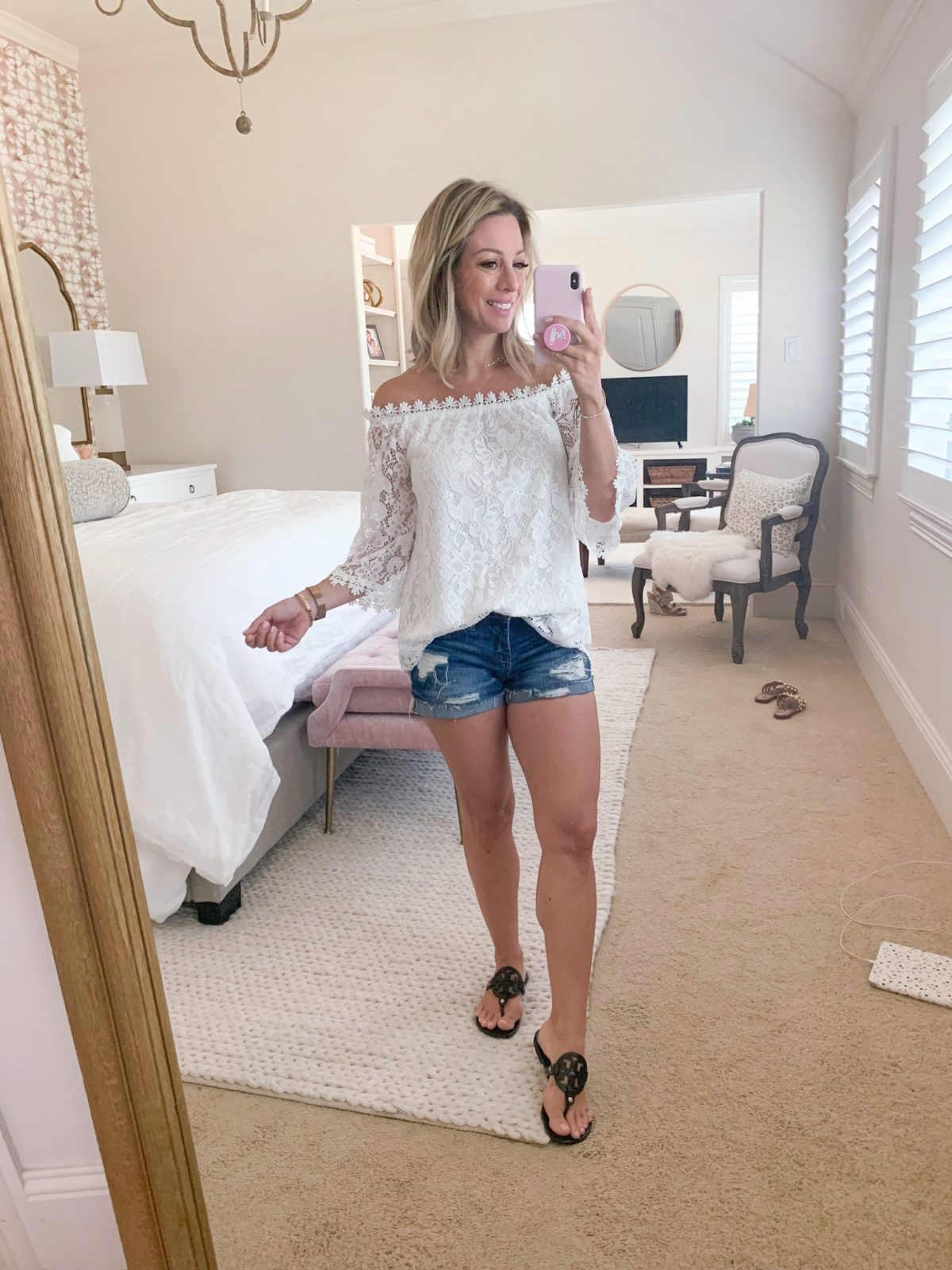Amazon Fashion Haul - crochet and lace top with jean shorts
