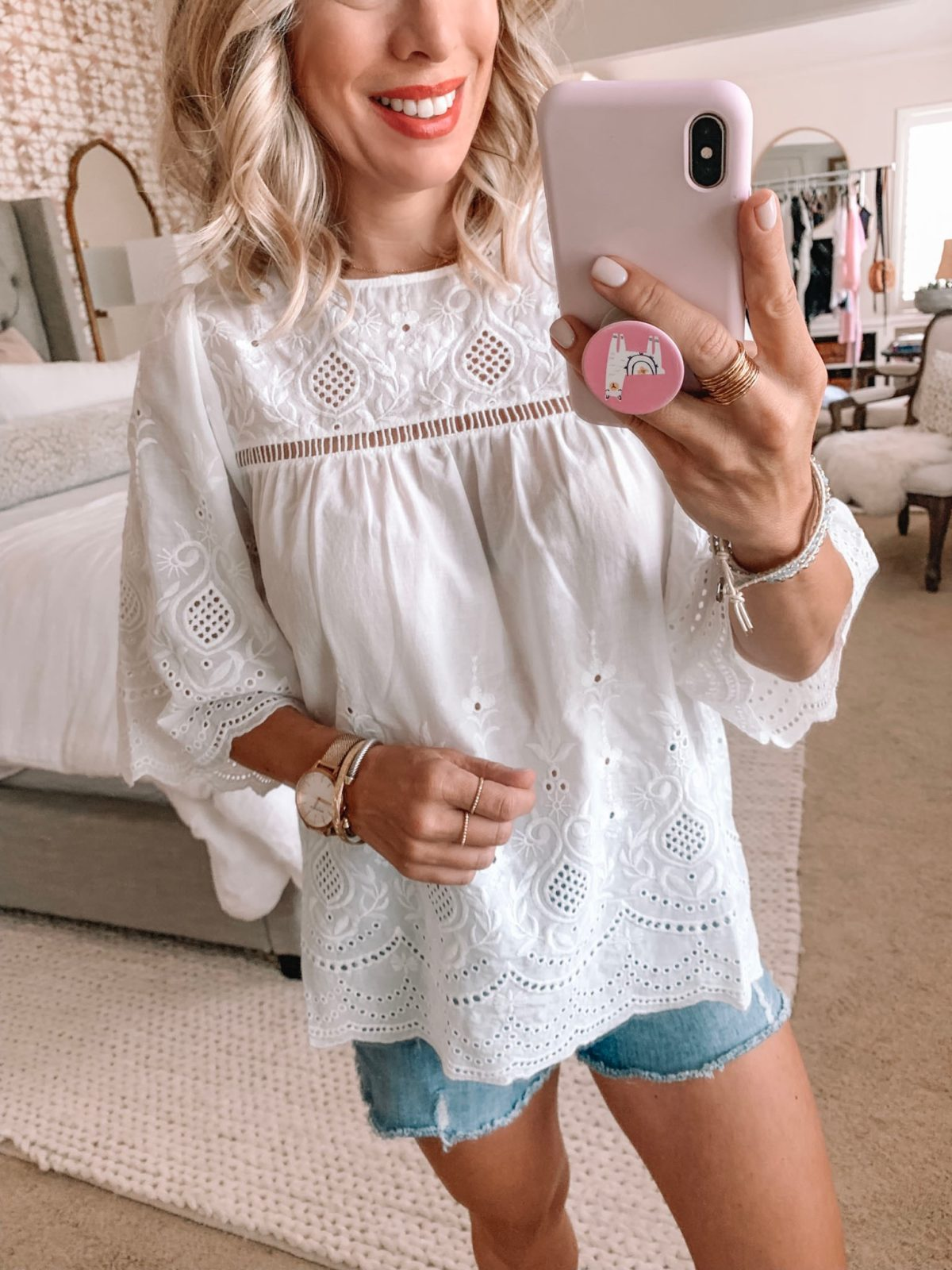 Amazon Fashion Haul - white eyelet top and jean shorts