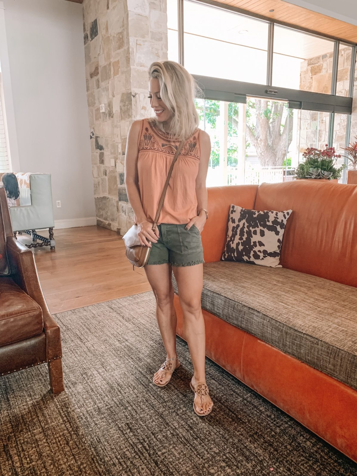 embroidered tank and olive jean shorts