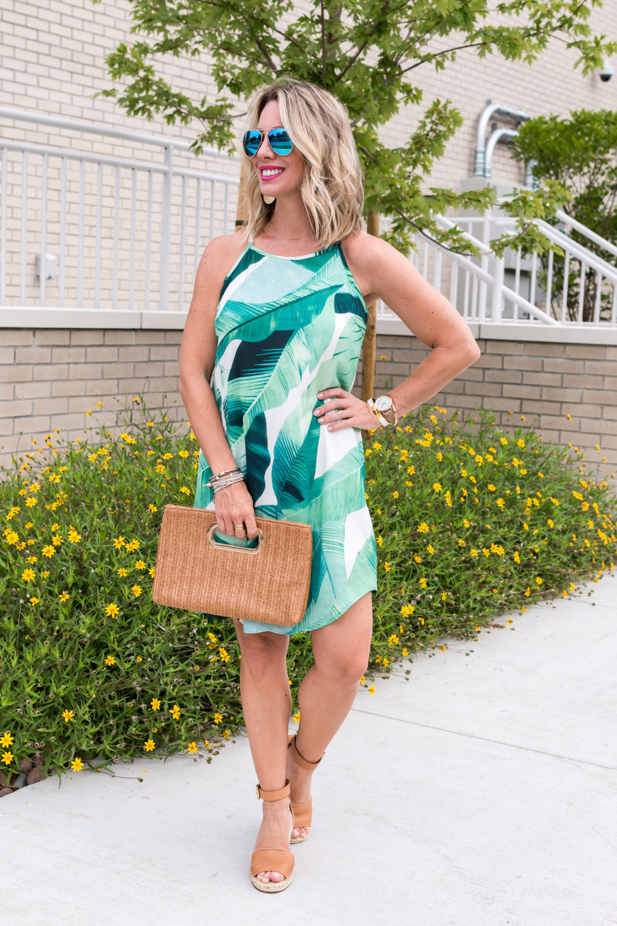 Amazon Fashion Prime Day Haul - Leaf Dress and a woven clutch