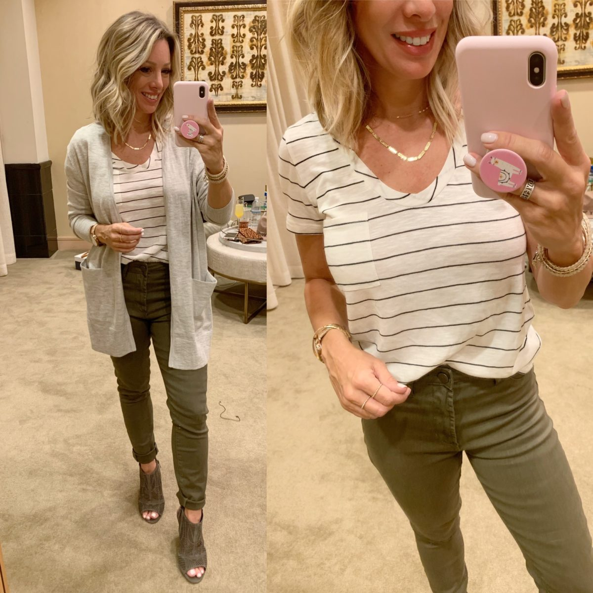Nordstrom Anniversary Sale - stripe top with army green pants and grey wedges