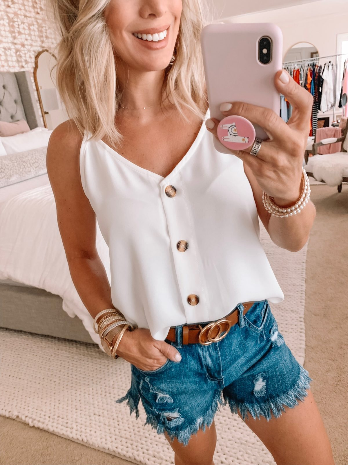 Amazon Fashion Haul - white tank and high waist jean shorts