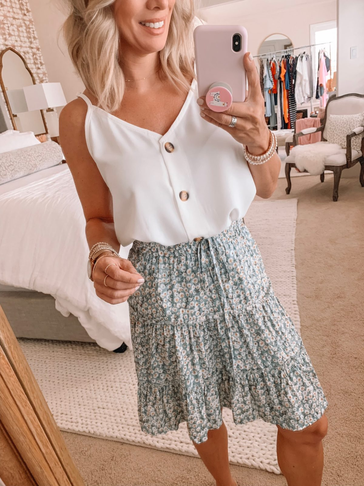 Amazon Fashion Haul - White button down tank with a green daisy skirt