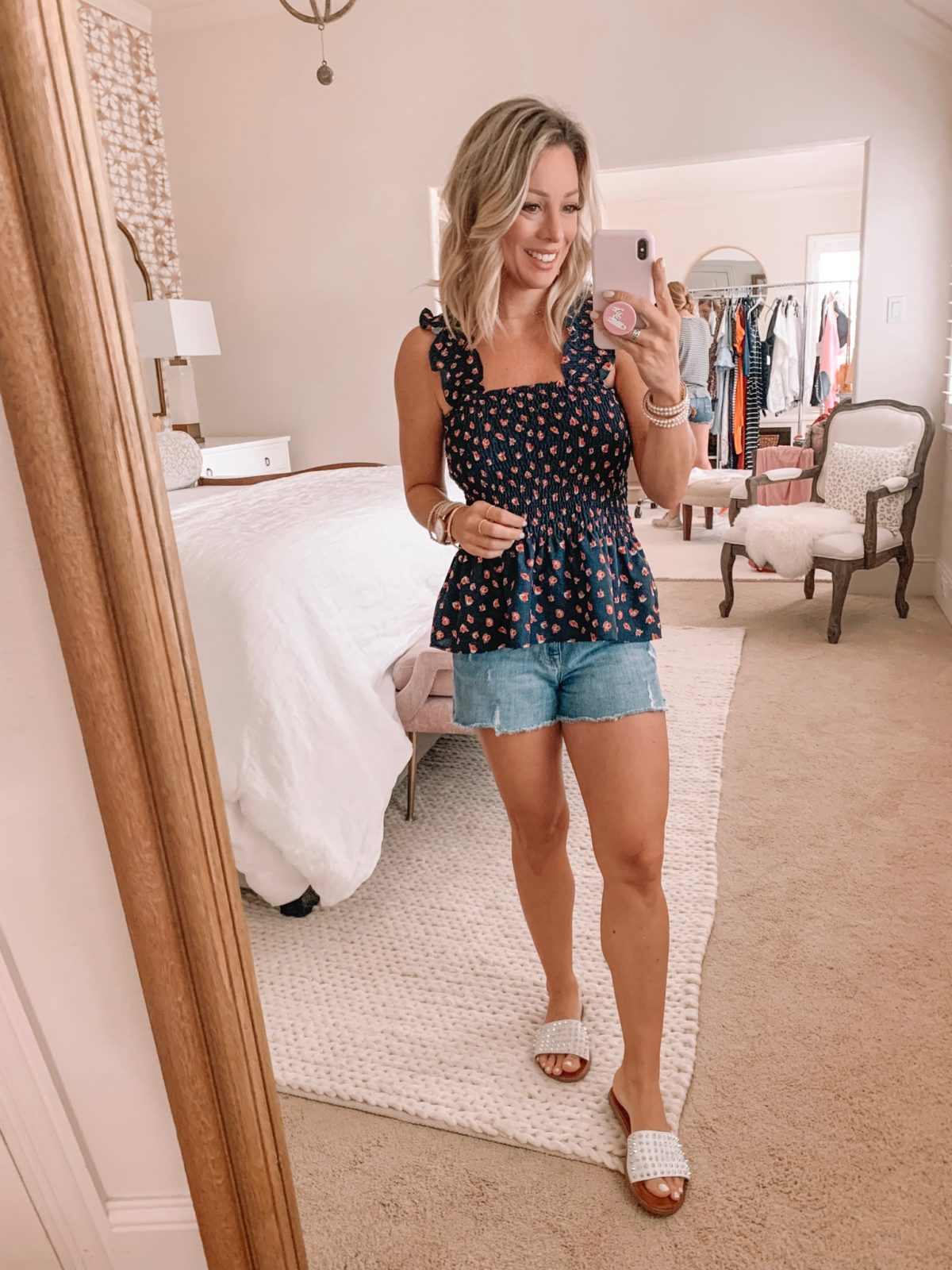 Amazon Fashion Haul - navy floral top and jean shorts