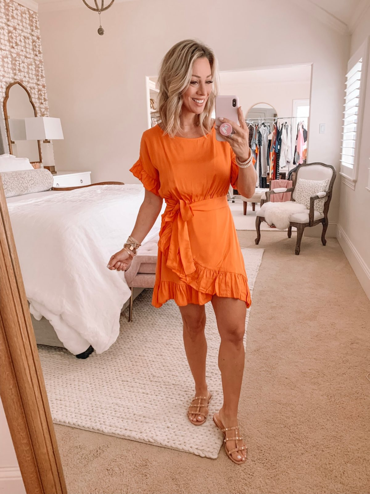 Amazon Fashion Haul - Orange wrap dress