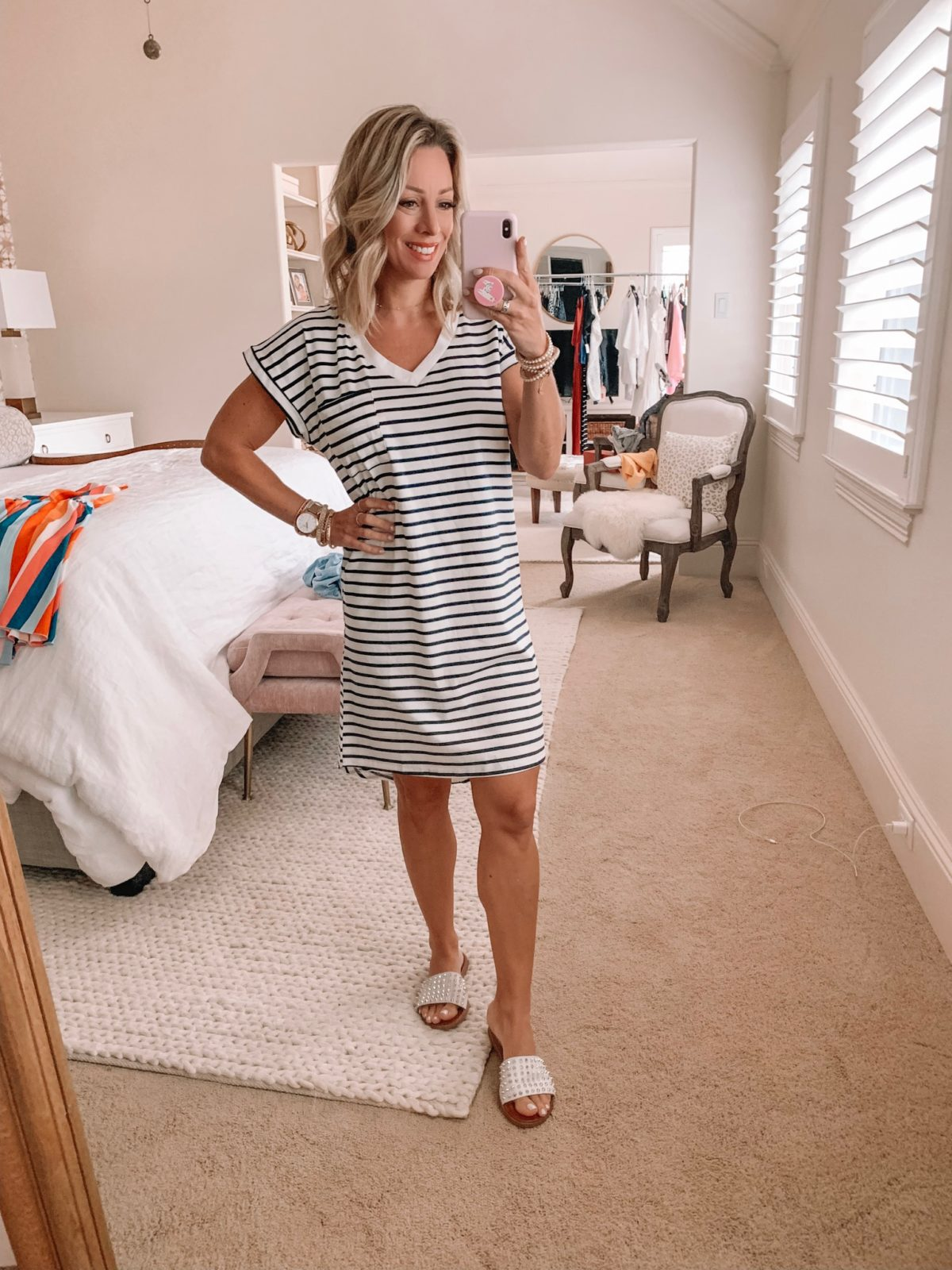 Amazon Fashion Haul - Stripe T-Shirt Dress with studded Sandals