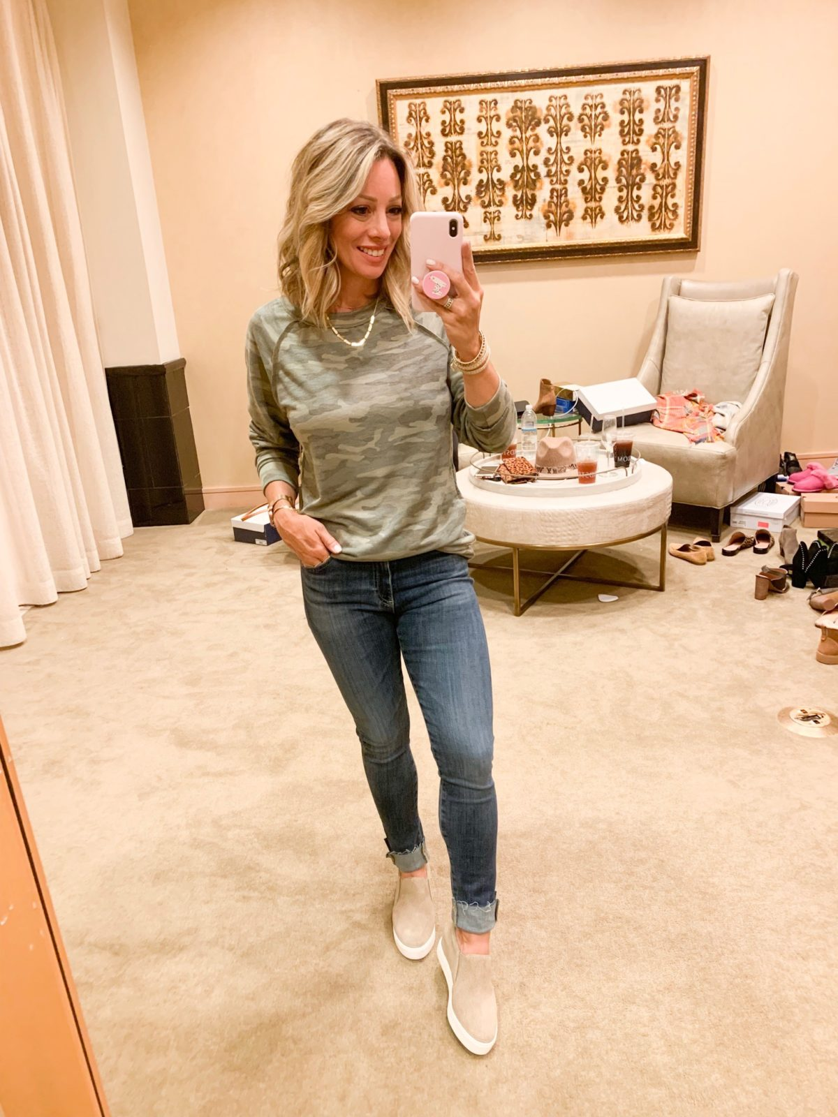 Nordstrom Anniversary Sale - Camo shirt with AG Farrah Jeans and grey sneakers