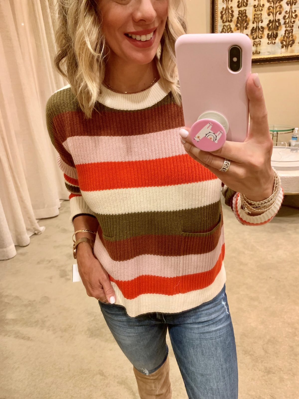 Nordstrom Anniversary Sale - Stripe Sweater with Jeans and Sam Edelman Boots