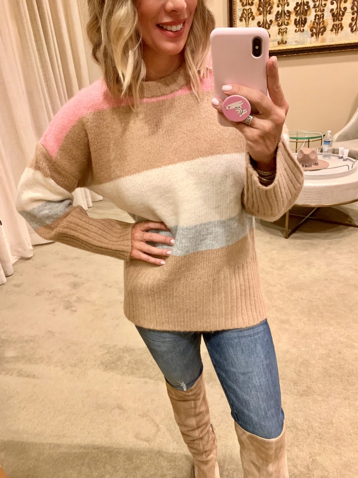 Nordstrom Anniversary Sale - Colorblock Sweater with Jeans and Sam Edelman Boots
