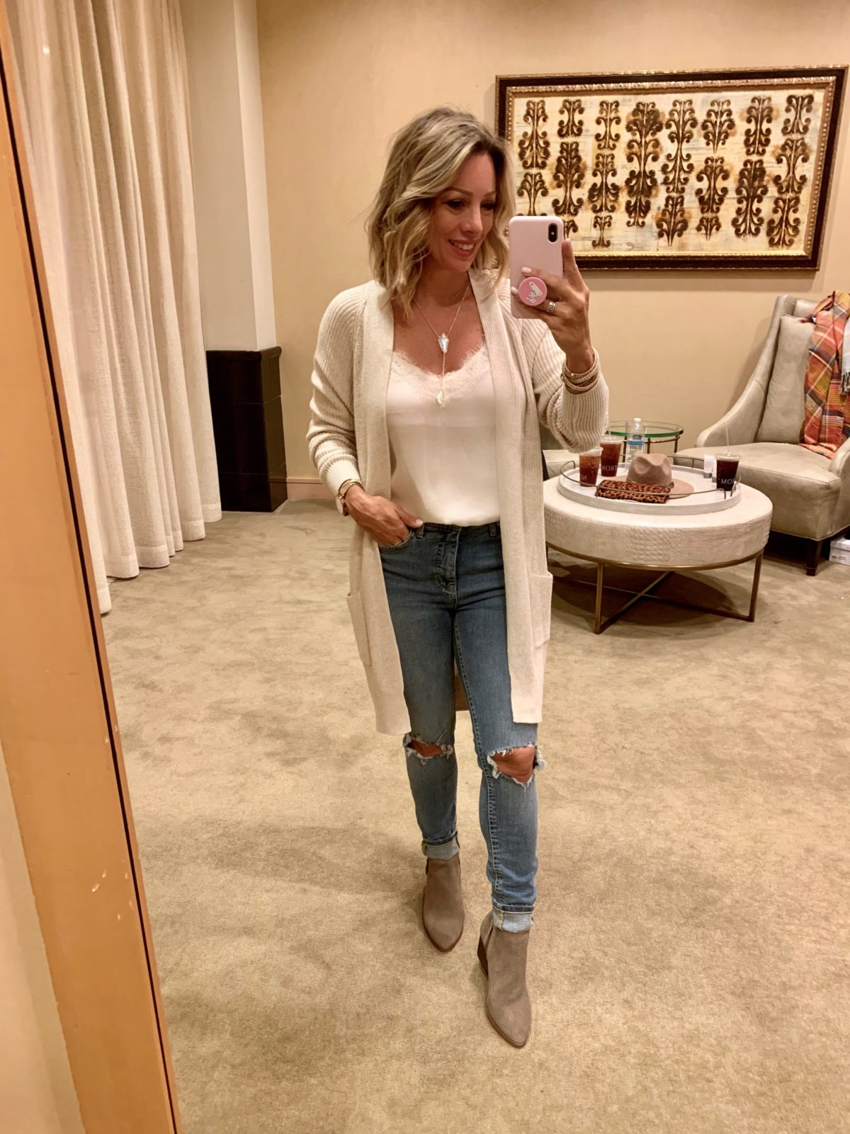 Nordstrom Anniversary Sale - white lace cami with Jeans and boots