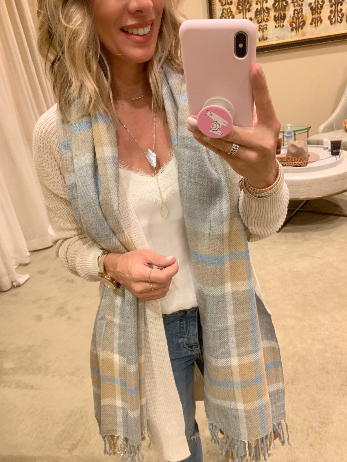 Nordstrom Anniversary Sale - white lace cami with Jeans and boots and a plaid scarf