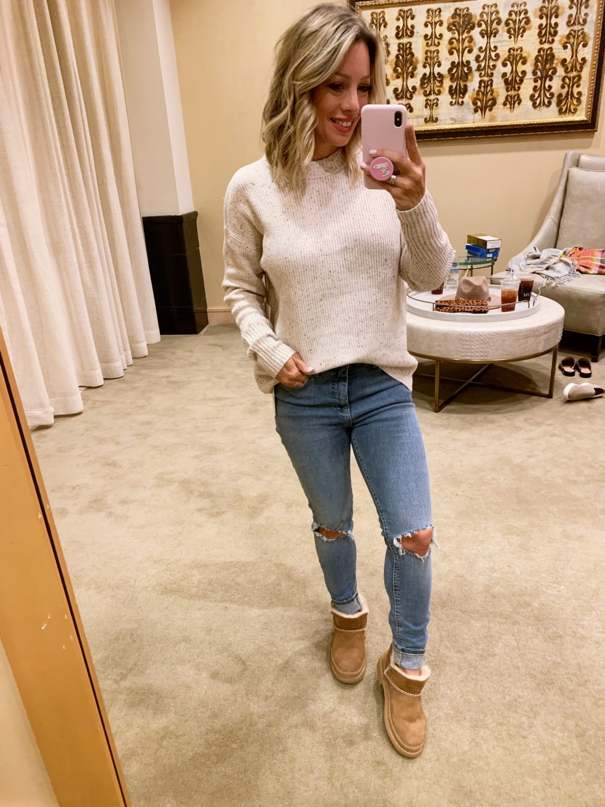 Nordstrom Anniversary Sale - white sweater with Jeans and ugg melrose shoes