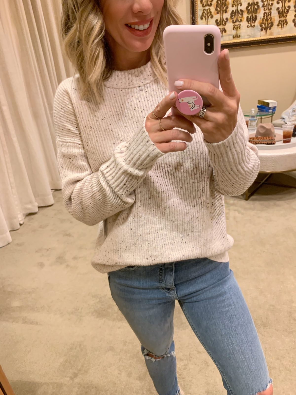 Nordstrom Anniversary Sale - white top with Jeans and ugg melrose shoes