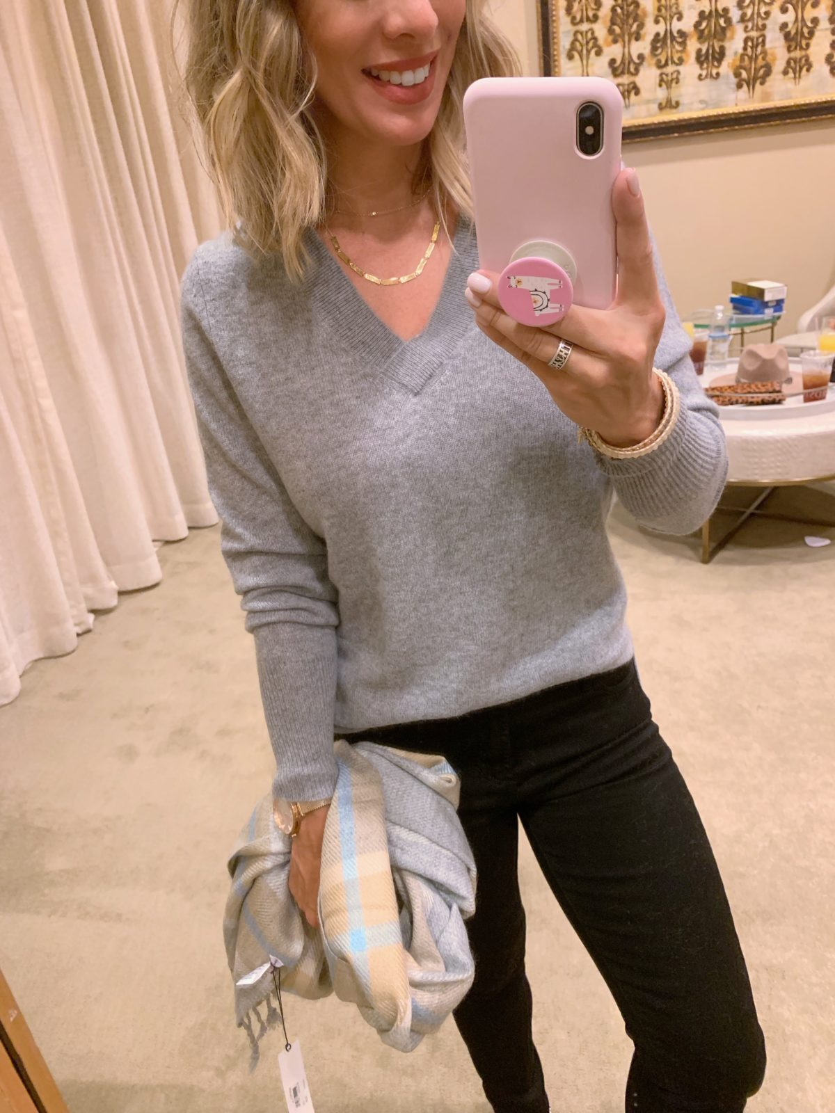 Nordstrom Anniversary Sale - grey long sleeve with a plaid scarf, black jeans, and leopard sandals