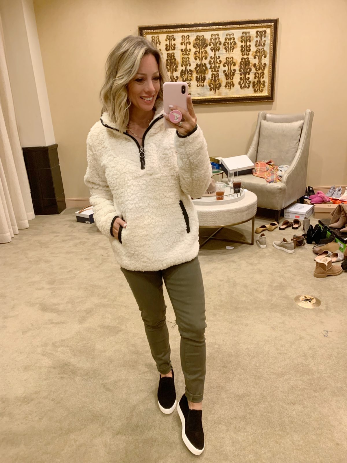 Nordstrom Anniversary Sale - white fluffy pullover with army green pants and black slides