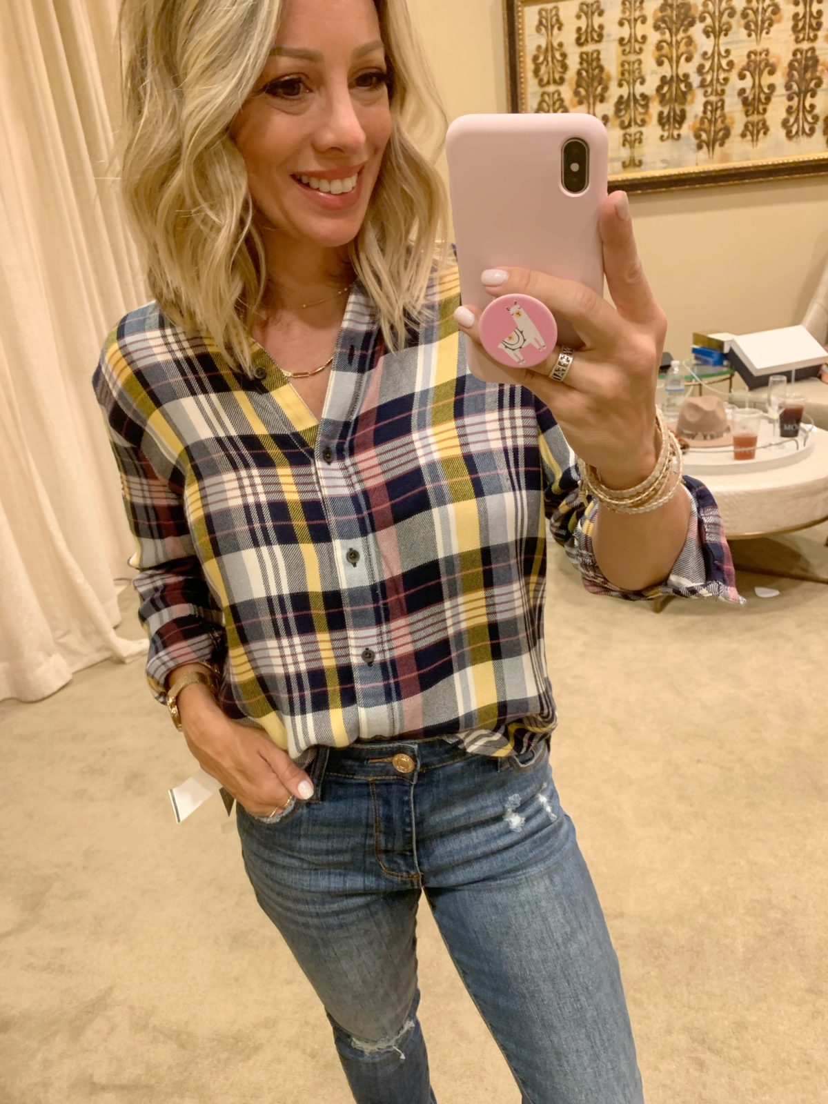 Nordstrom Anniversary Sale - plaid top with jeans and peep toe boots