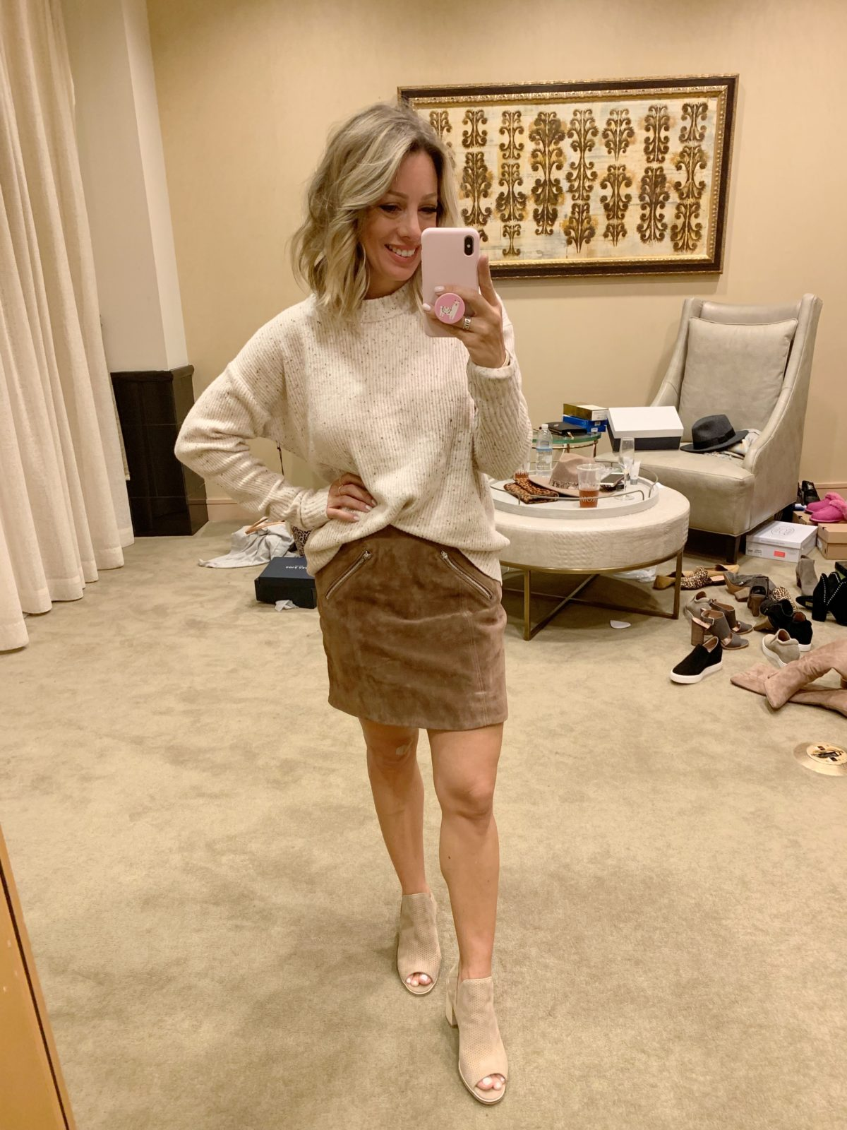 Nordstrom Anniversary Sale - cream sweater with a suede skirt and peep toe boots