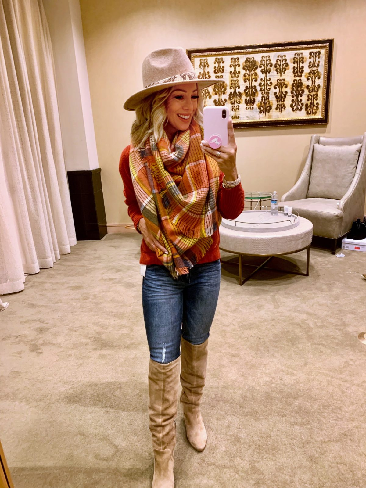 Nordstrom Anniversary Sale - Orange Sweater with Jeans, A scarf and a hat with Sam Edelman Boots