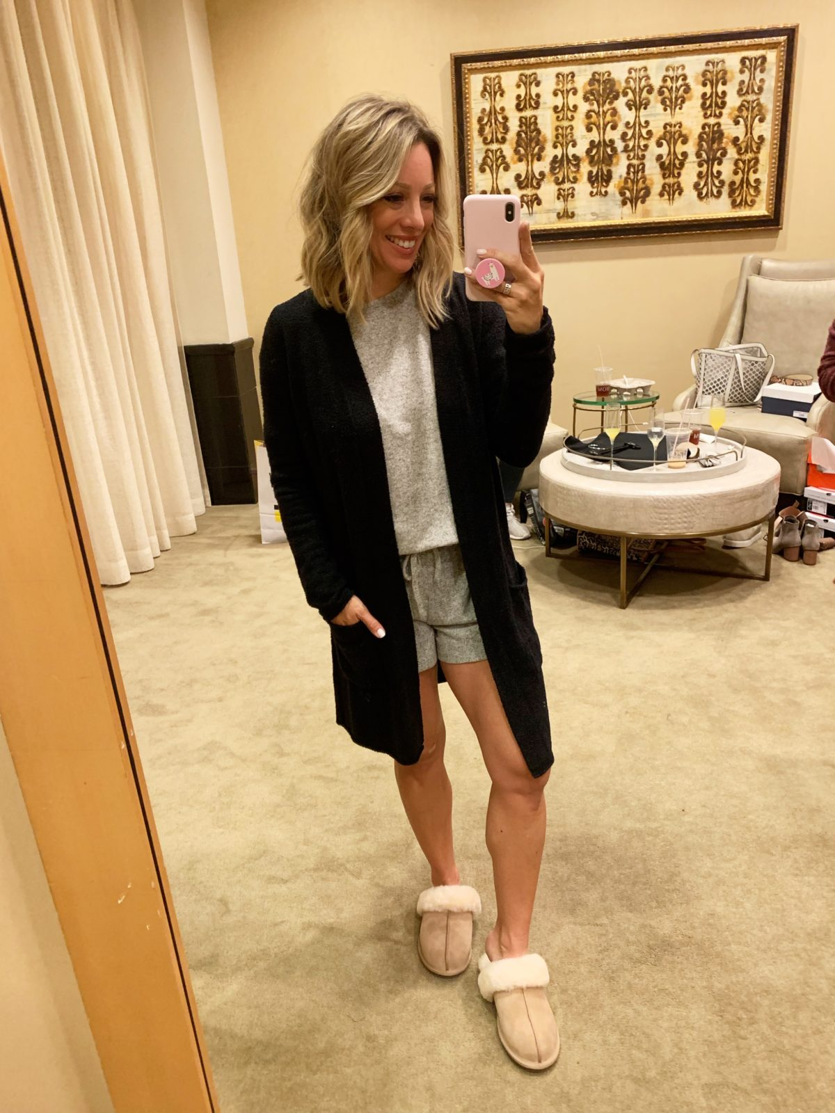 Nordstrom Anniversary Sale - barefoot dreams cardigan with a cozy top and shorts with ugg slippers