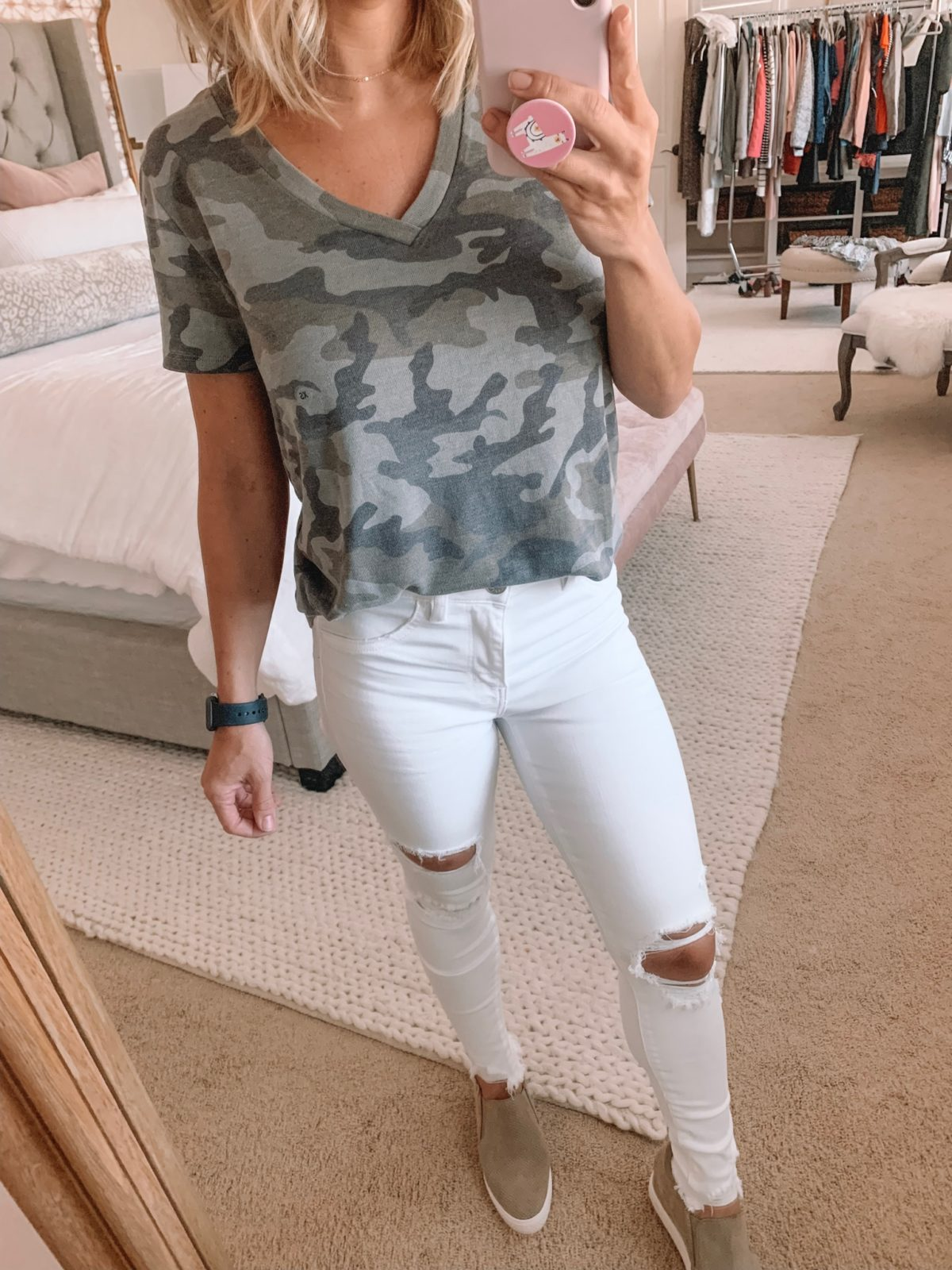 Dressing Room - Camo Top and white jeans