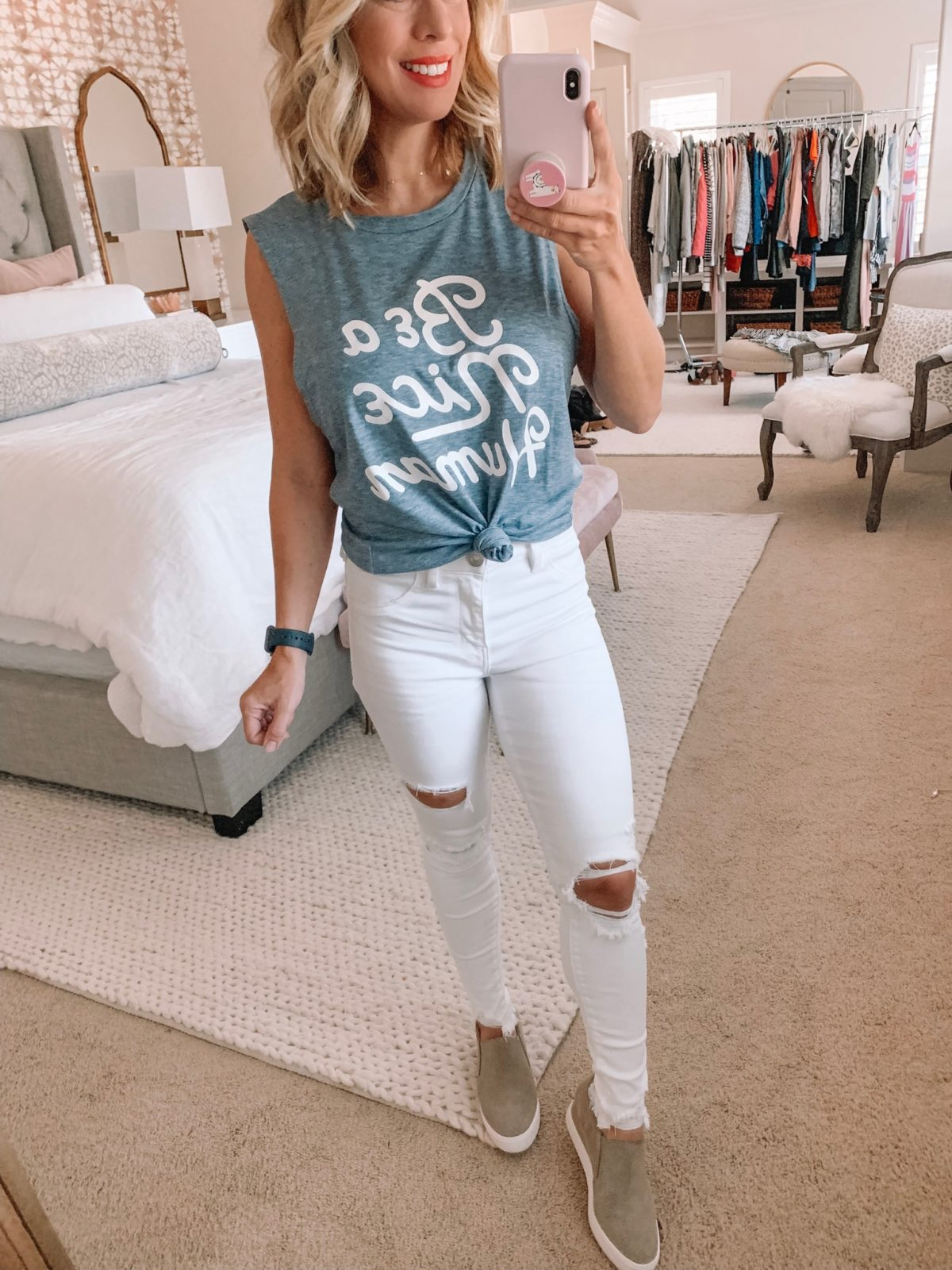 Dressing Room - Be a Nice Human tank and white jeans