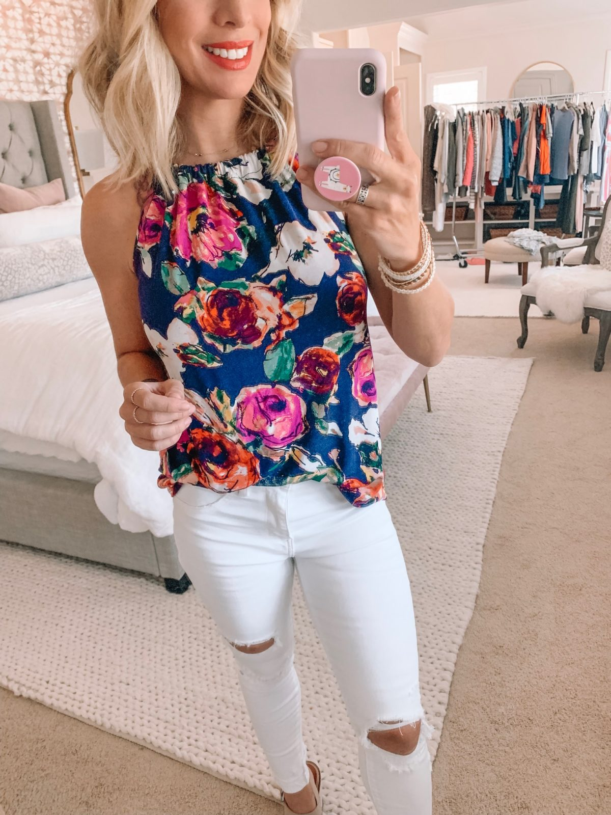 Dressing Room - Floral tank and white jeans