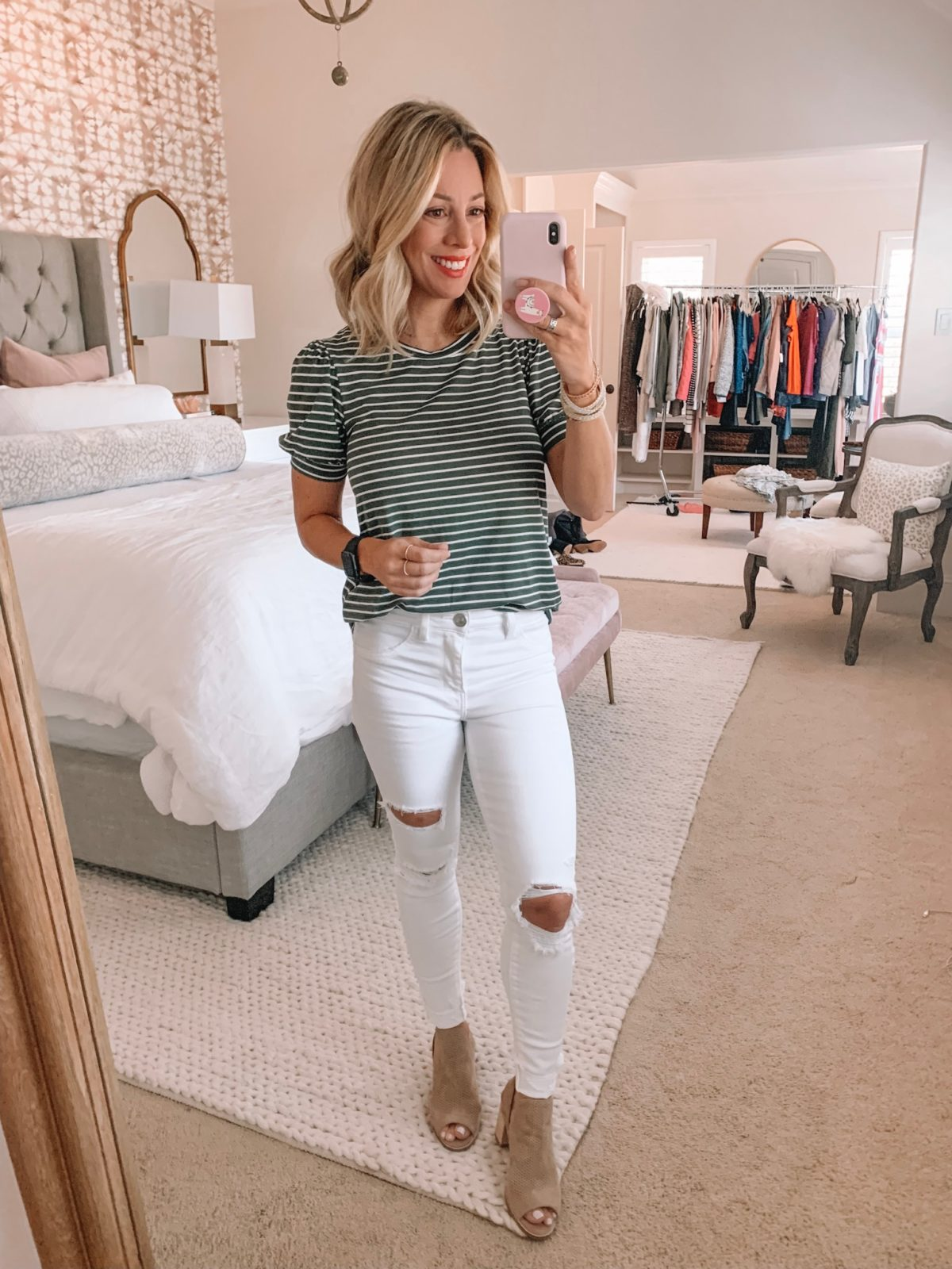Dressing Room - Green stripe shirt with white jeans