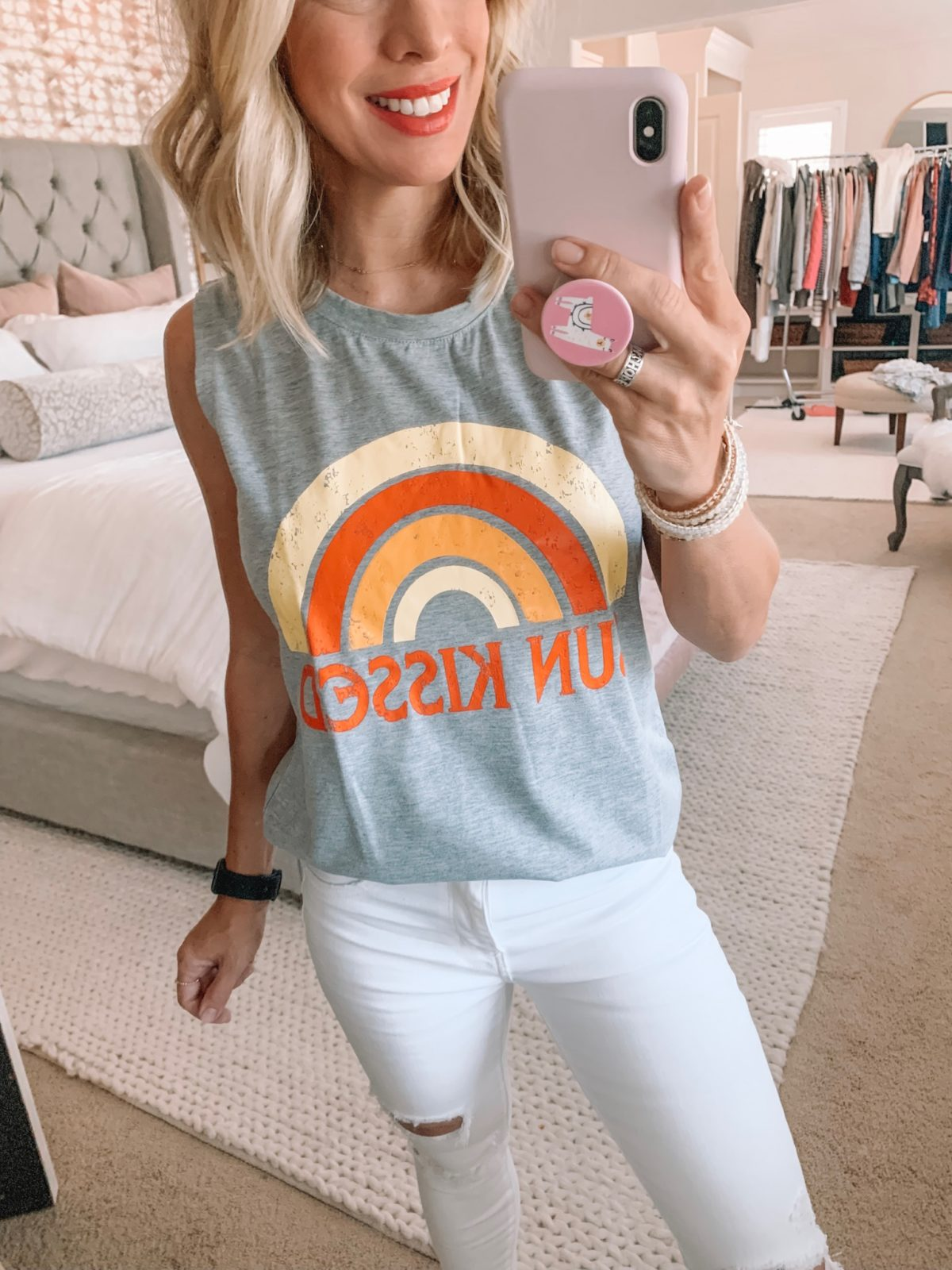 Dressing Room - Sun Kissed tank with white jeans
