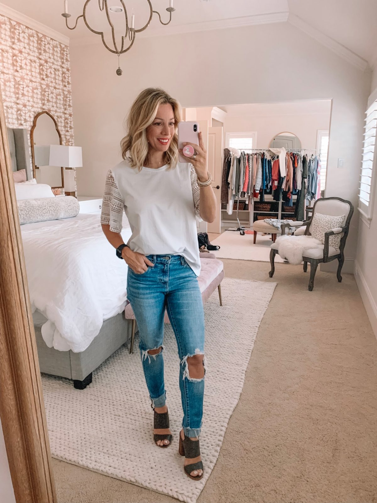 Dressing Room - white lace sleeve top with blue jeans