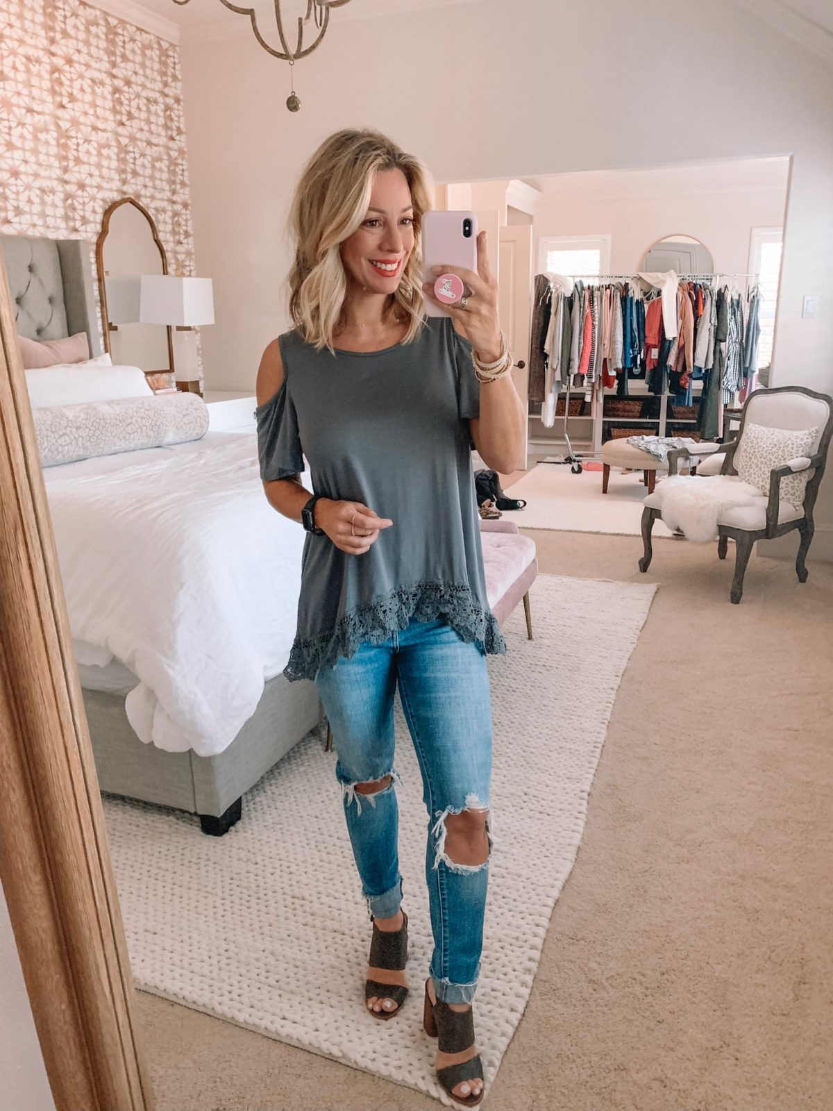 Dressing Room - green lace trim top with blue jeans