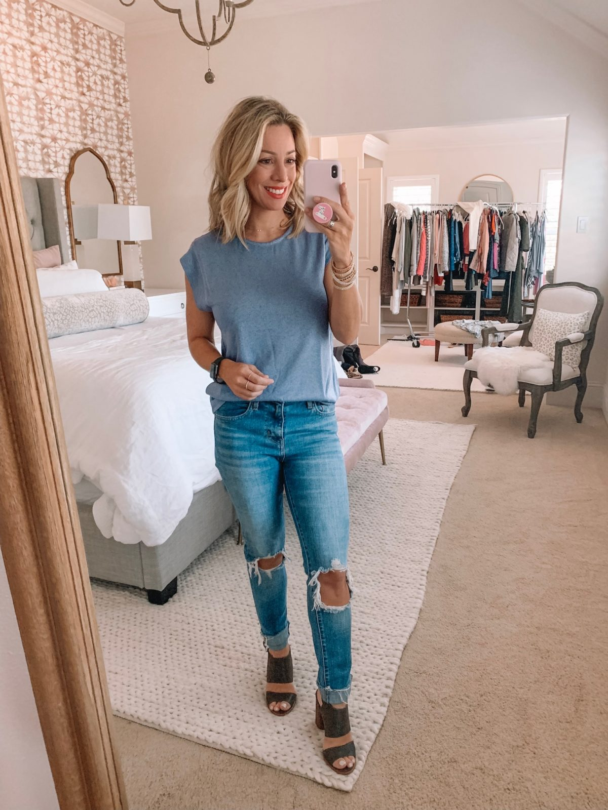 Dressing Room - blue top with blue jeans