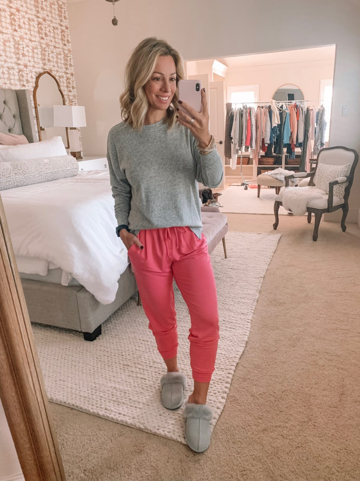 Dressing Room -grey long sleeve top with pink joggers and ugg slippers