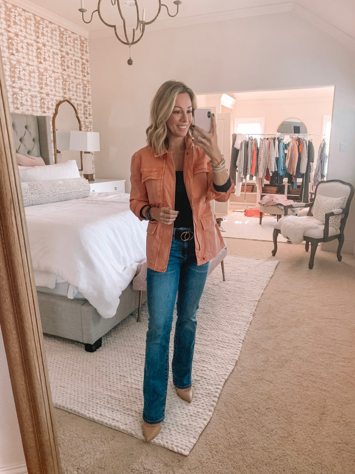 Dressing Room - orange army jacket with boot cut jeans