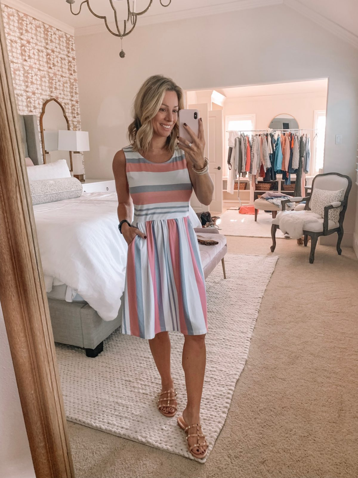 Dressing Room - pink, blue and white dress