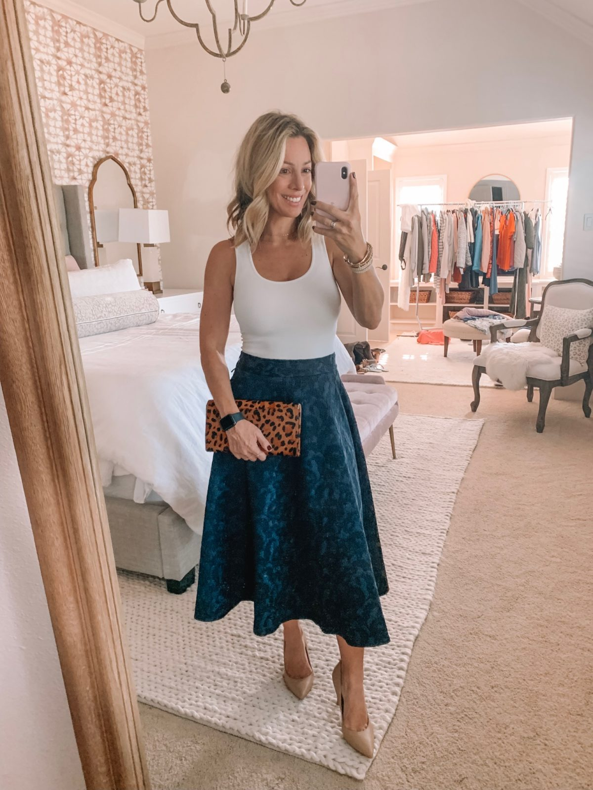 Dressing Room - white tank with blue spotted skirt with a leopard clutch