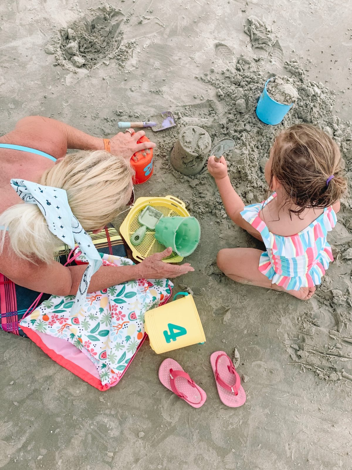 48 Hours in Galveston - Grandma and Granddaughter playing in the sand