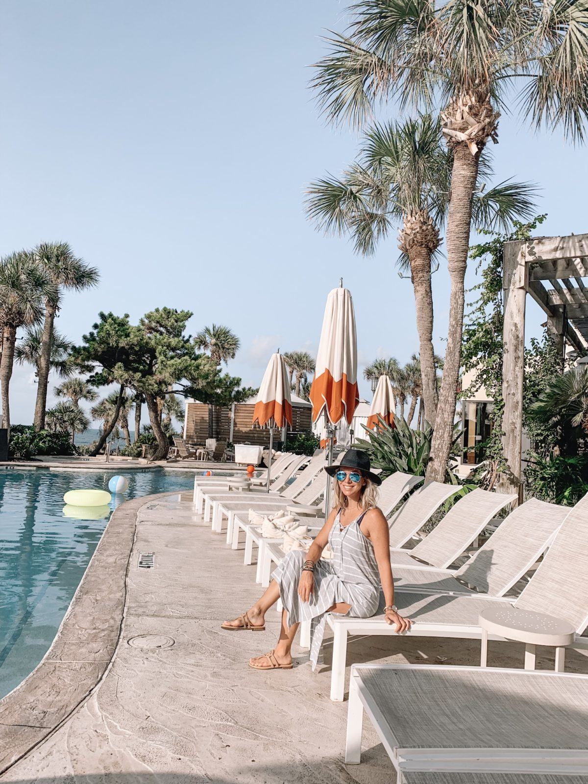 48 Hours in Galveston - grey maxi dress by the pool