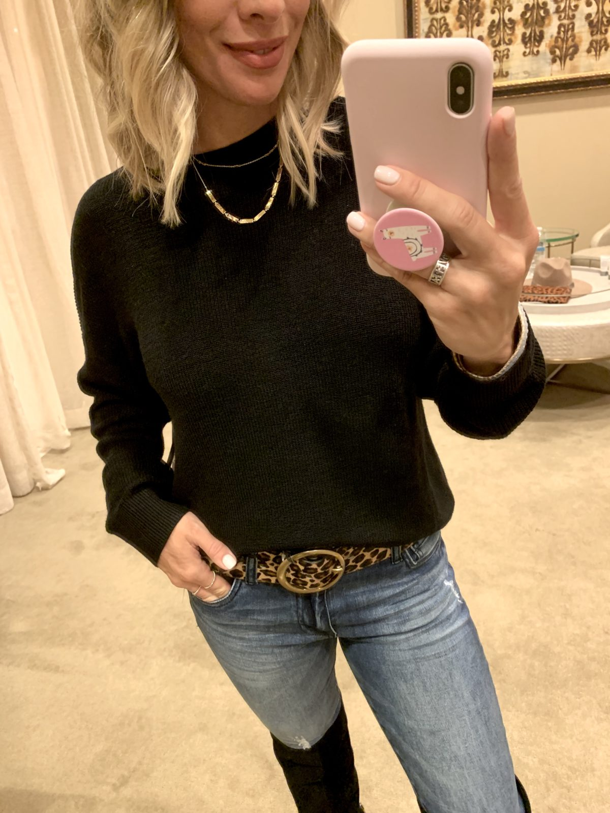 Nordstrom Anniversary Sale - black Sweater with Jeans and Sam Edelman Boots