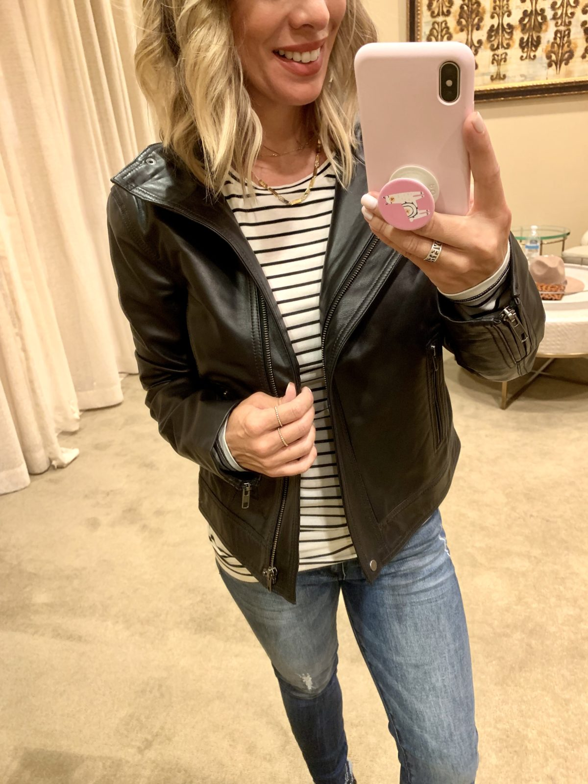 Nordstrom Anniversary Sale - stripe shirt with a leather jacket with Jeans and Sam Edelman Boots