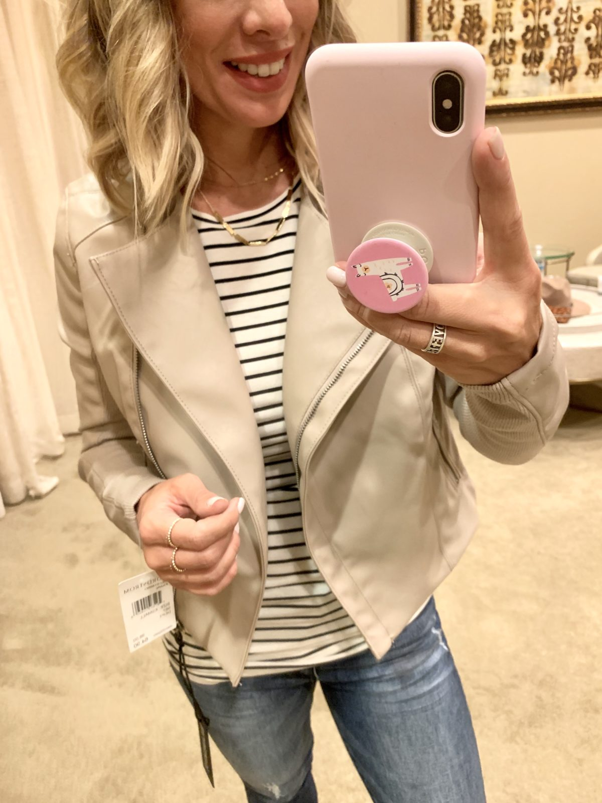 Nordstrom Anniversary Sale - Stripe top with a cream jacket with Jeans and Sam Edelman Boots