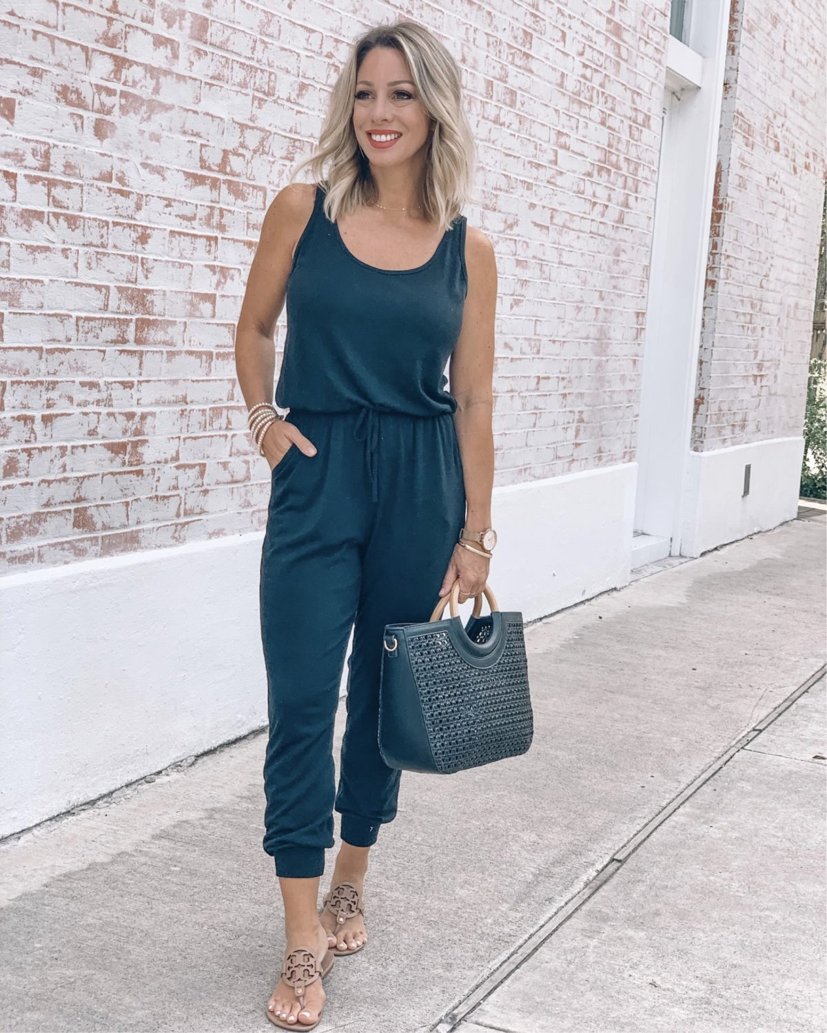 48 hours in San Antonio - black jumpsuit with miller sandals