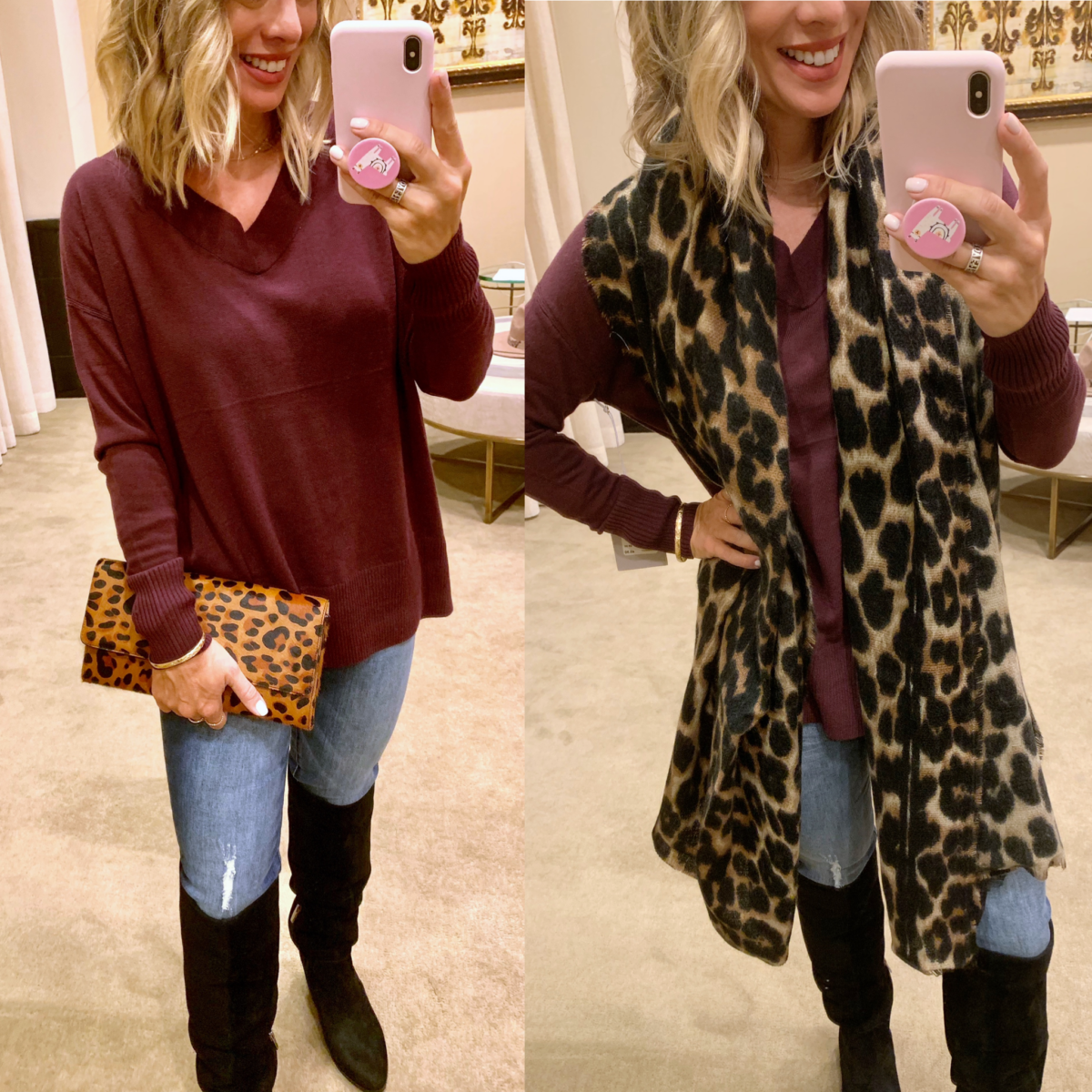 Nordstrom Anniversary Sale - Maroon Sweater with Jeans and Sam Edelman Boots with a leopard clutch and scarf