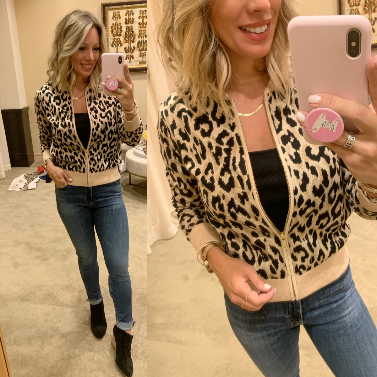 Nordstrom Anniversary Sale - black top with a J crew leopard sweater, jeans and black boots