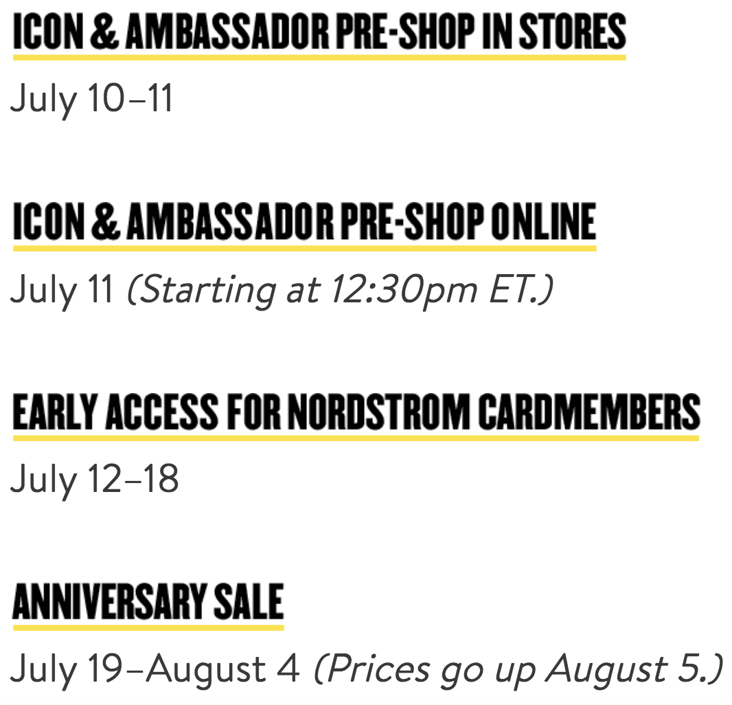 Nordstrom Anniversary Sale 2019 shopping dates